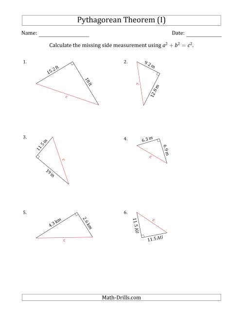 The Calculate the Hypotenuse Using Pythagorean Theorem (I) Math Worksheet