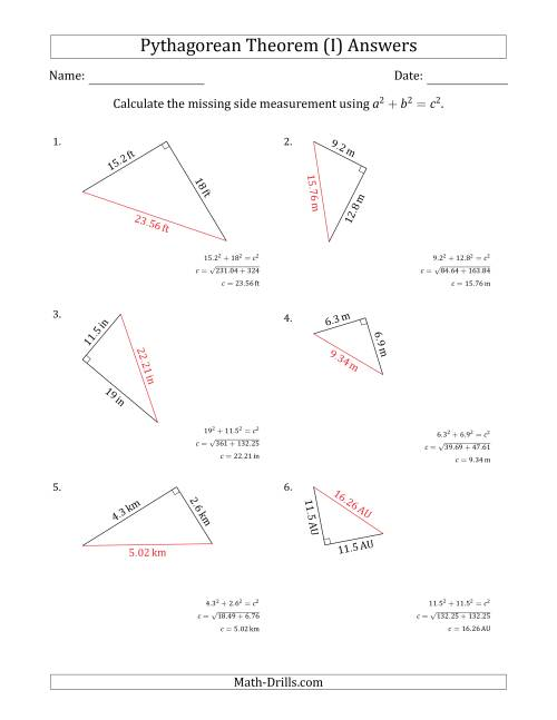 The Calculate the Hypotenuse Using Pythagorean Theorem (I) Math Worksheet Page 2
