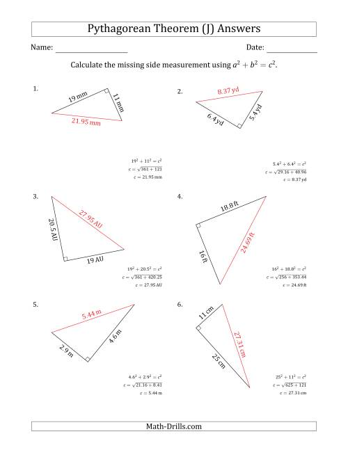 The Calculate the Hypotenuse Using Pythagorean Theorem (J) Math Worksheet Page 2