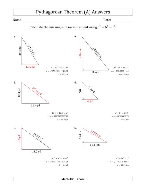 The Calculate a Side Measurement Using Pythagorean Theorem (No Rotation) (A) Math Worksheet Page 2