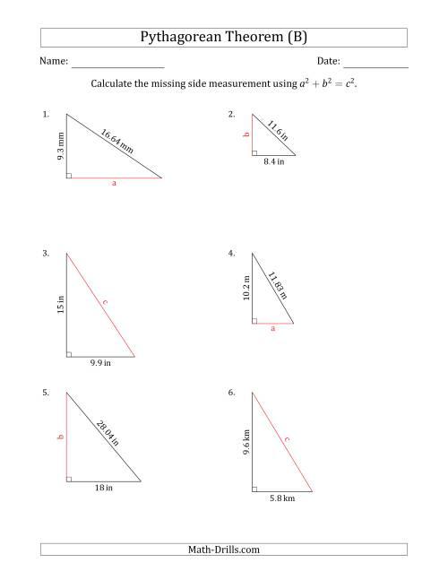 Calculate a Side Measurement Using Pythagorean Theorem (No