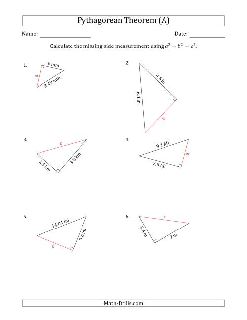 The Calculate a Side Measurement Using Pythagorean Theorem (A) Math Worksheet