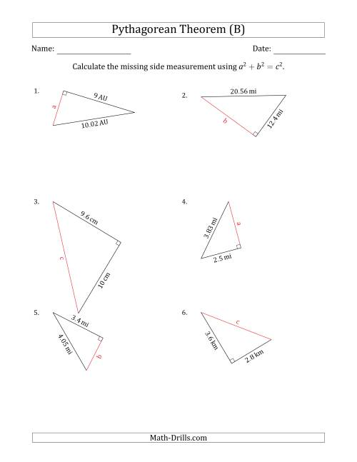 The Calculate a Side Measurement Using Pythagorean Theorem (B) Math Worksheet
