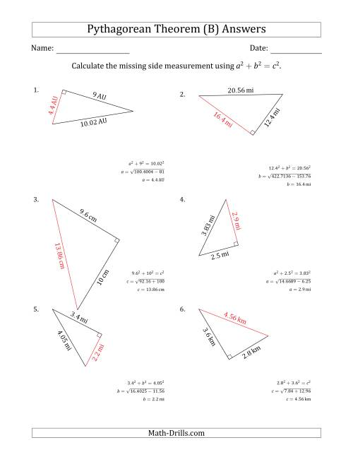 The Calculate a Side Measurement Using Pythagorean Theorem (B) Math Worksheet Page 2