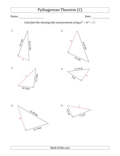 The Calculate a Side Measurement Using Pythagorean Theorem (C) Math Worksheet