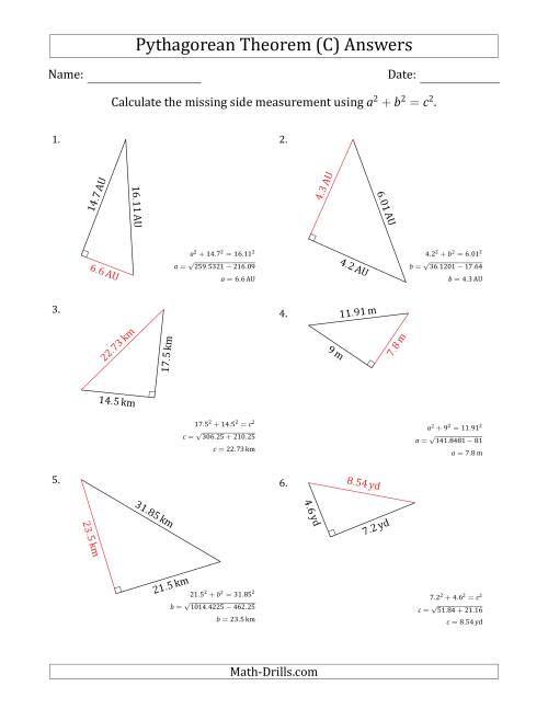 The Calculate a Side Measurement Using Pythagorean Theorem (C) Math Worksheet Page 2