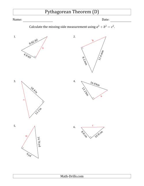The Calculate a Side Measurement Using Pythagorean Theorem (D) Math Worksheet