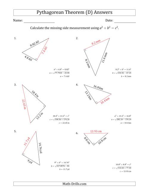 The Calculate a Side Measurement Using Pythagorean Theorem (D) Math Worksheet Page 2