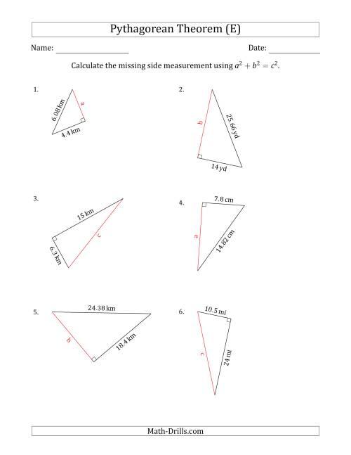 Calculate a Side Measurement Using Pythagorean Theorem (E)