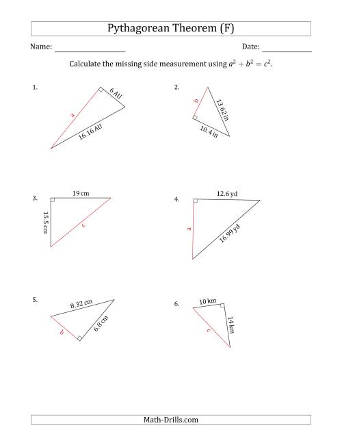 The Calculate a Side Measurement Using Pythagorean Theorem (F) Math Worksheet