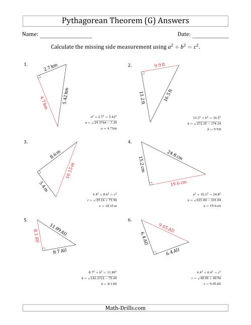The Calculate a Side Measurement Using Pythagorean Theorem (G) Math Worksheet Page 2