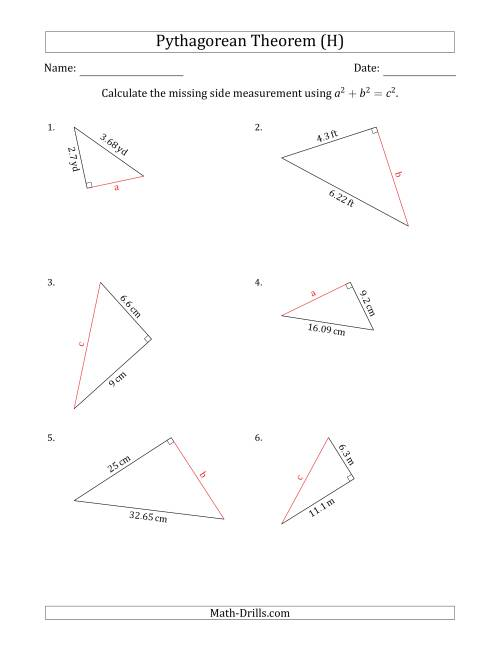 The Calculate a Side Measurement Using Pythagorean Theorem (H) Math Worksheet
