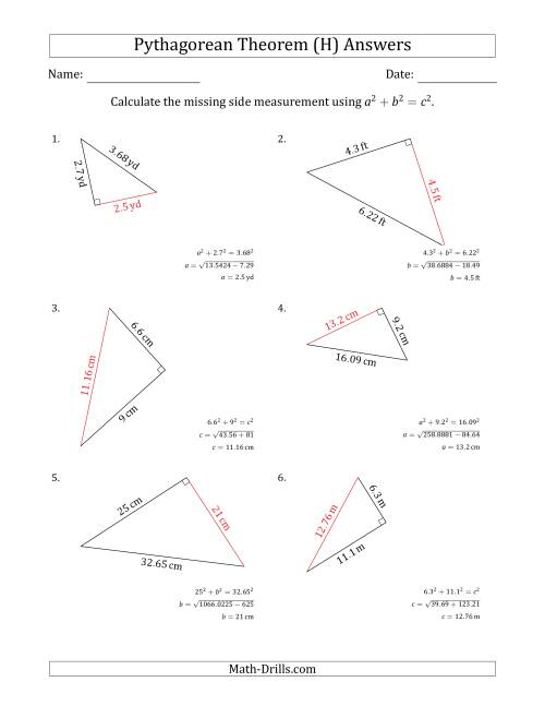 The Calculate a Side Measurement Using Pythagorean Theorem (H) Math Worksheet Page 2