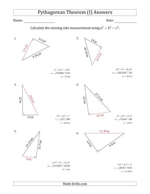 The Calculate a Side Measurement Using Pythagorean Theorem (I) Math Worksheet Page 2