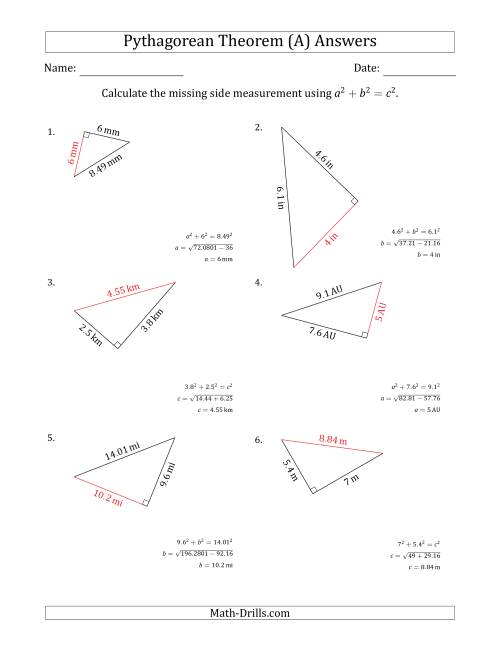 The Calculate a Side Measurement Using Pythagorean Theorem (All) Math Worksheet Page 2