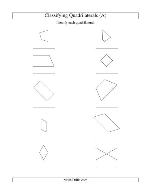Workbooks worksheets on quadrilaterals and their properties : Classifying Quadrilaterals (A)