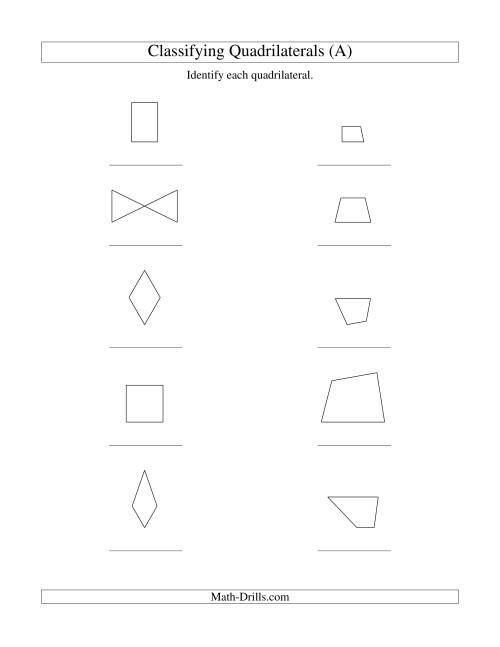 The Classifying Quadrilaterals (No Rotation) (A) Geometry Worksheet