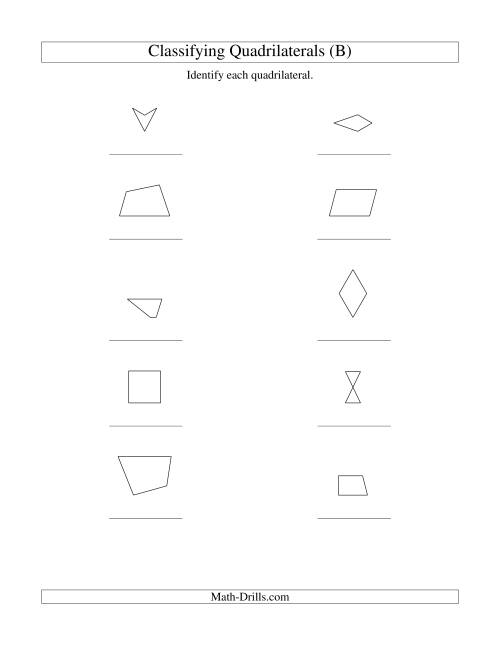 The Classifying Quadrilaterals (No Rotation) (B) Math Worksheet