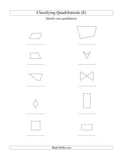 classifying quadrilaterals no rotation e geometry worksheet. Black Bedroom Furniture Sets. Home Design Ideas