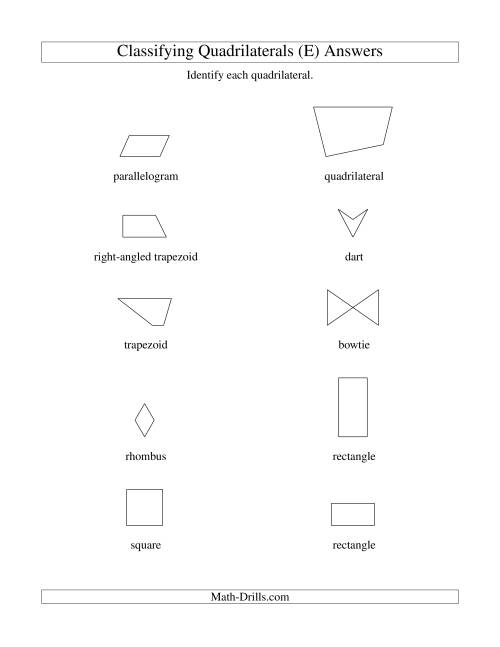 The Classifying Quadrilaterals (No Rotation) (E) Math Worksheet Page 2