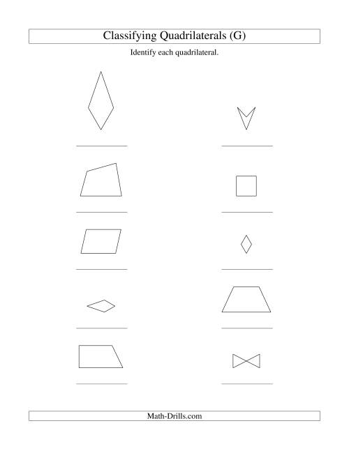 The Classifying Quadrilaterals (No Rotation) (G) Math Worksheet