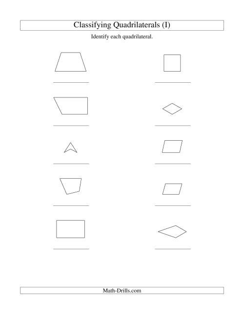 The Classifying Quadrilaterals (No Rotation) (I) Math Worksheet