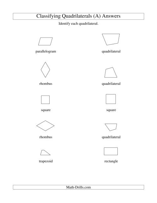 The Classifying Quadrilaterals (Squares, Rectangles, Parallelograms, Trapezoids, Rhombuses, and Undefined) (All) Math Worksheet Page 2