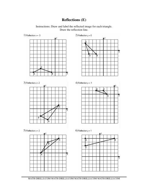 reflection math worksheets geometry worksheets for practice and studywinterrowd math. Black Bedroom Furniture Sets. Home Design Ideas