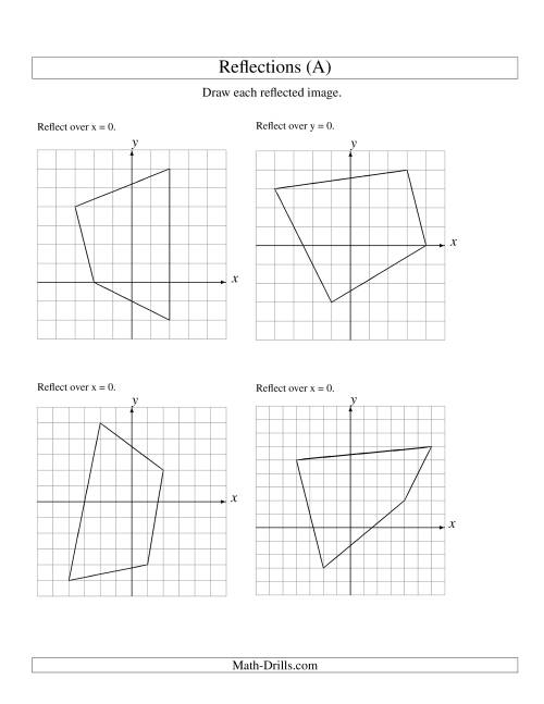 The Reflection of 4 Vertices Over the x or y Axis (A) Math Worksheet