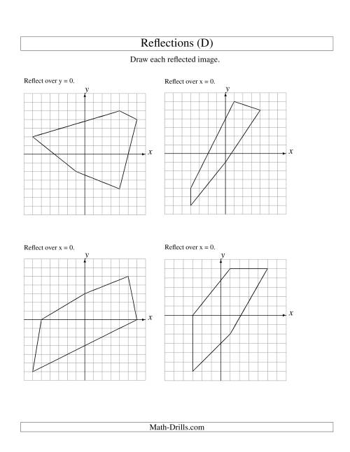 The Reflection of 5 Vertices Over the x or y Axis (D) Math Worksheet