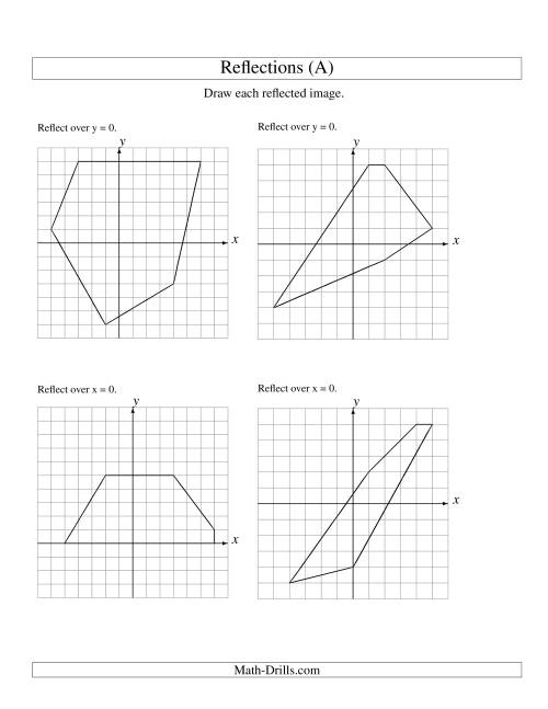 The Reflection of 5 Vertices Over the x or y Axis (All) Math Worksheet
