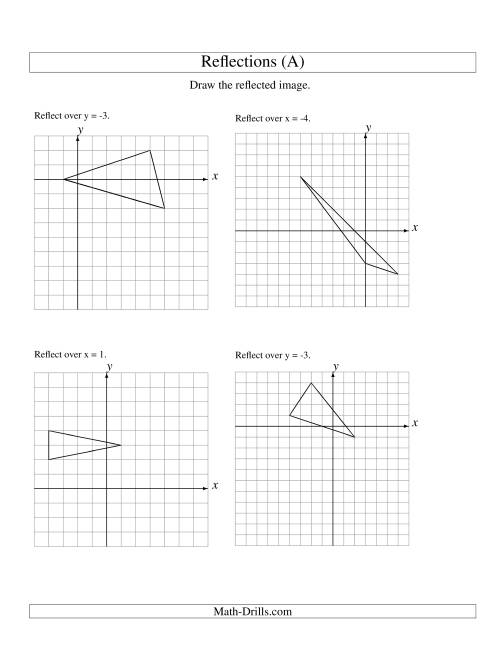The Reflection of 3 Vertices Over Various Lines (A) Math Worksheet