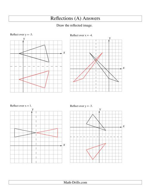 The Reflection of 3 Vertices Over Various Lines (A) Math Worksheet Page 2
