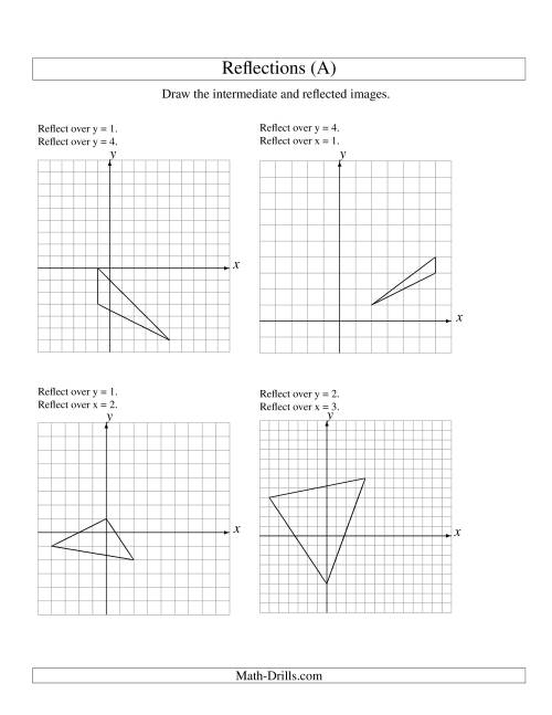 The Two-Step Reflection of 3 Vertices Over Various Lines (A) Math Worksheet