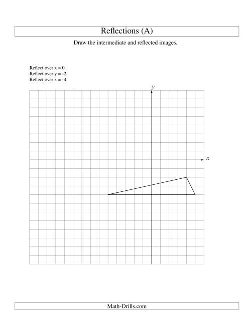 The Three-Step Reflection of 3 Vertices Over Various Lines (A) Math Worksheet