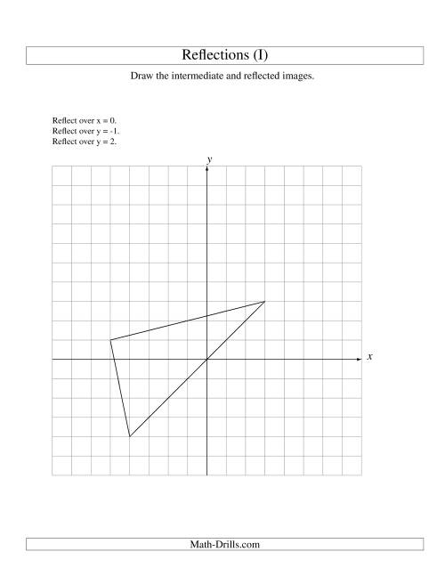 The Three-Step Reflection of 3 Vertices Over Various Lines (I) Math Worksheet
