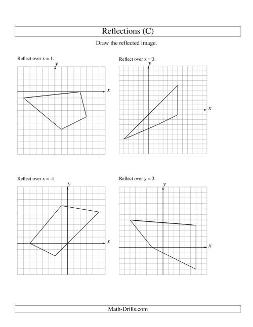 The Reflection of 4 Vertices Over Various Lines (C) Math Worksheet