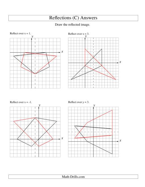 The Reflection of 4 Vertices Over Various Lines (C) Math Worksheet Page 2