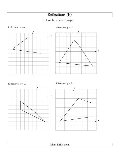 The Reflection of 4 Vertices Over Various Lines (E) Math Worksheet