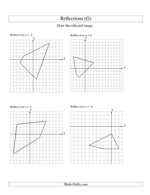 The Reflection of 4 Vertices Over Various Lines (G) Math Worksheet
