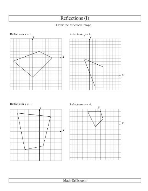 The Reflection of 4 Vertices Over Various Lines (I) Math Worksheet