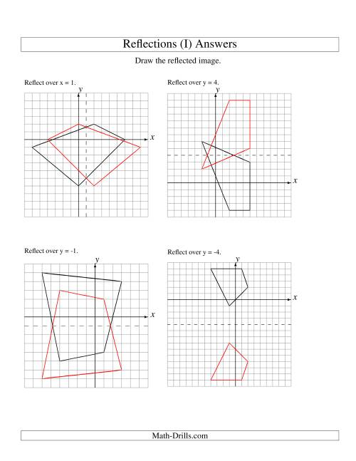 The Reflection of 4 Vertices Over Various Lines (I) Math Worksheet Page 2