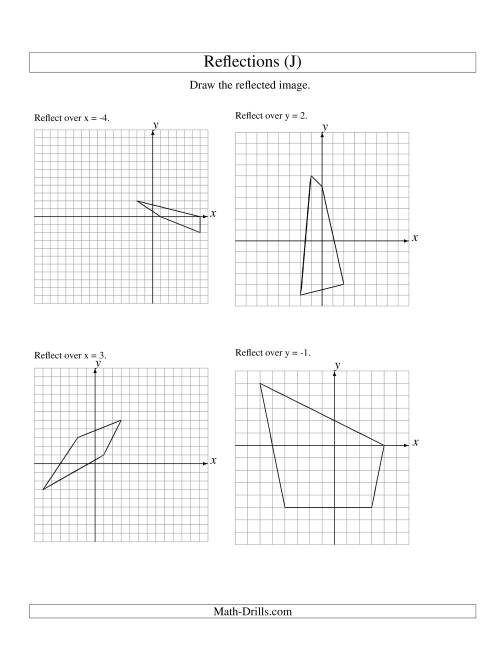 The Reflection of 4 Vertices Over Various Lines (J) Math Worksheet