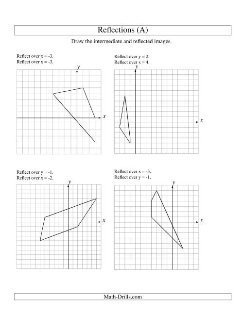 The Two-Step Reflection of 4 Vertices Over Various Lines (A) Math Worksheet