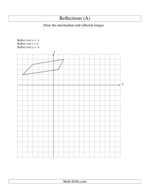 The Three-Step Reflection of 4 Vertices Over Various Lines (A) Math Worksheet