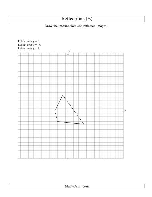 The Three-Step Reflection of 4 Vertices Over Various Lines (E) Math Worksheet
