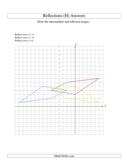 The Three-Step Reflection of 4 Vertices Over Various Lines (H) Math Worksheet Page 2