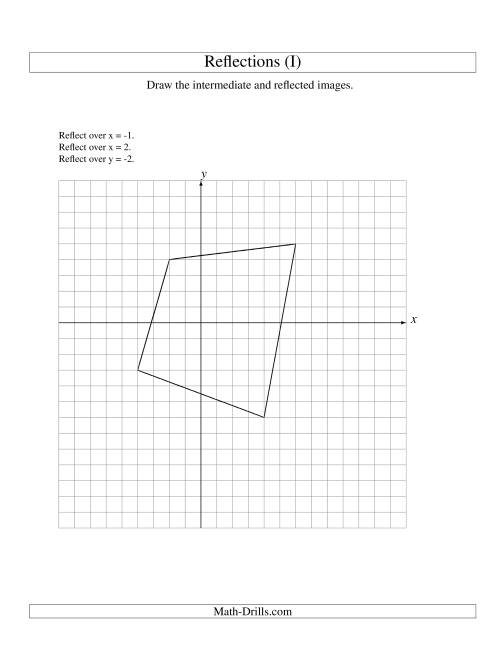 The Three-Step Reflection of 4 Vertices Over Various Lines (I) Math Worksheet