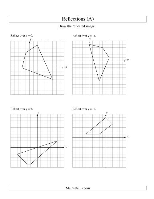 The Reflection of 4 Vertices Over Various Lines (All) Math Worksheet
