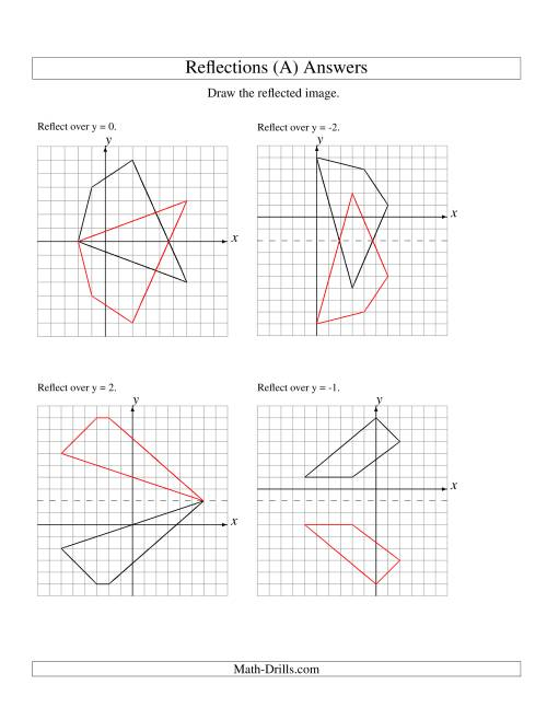 The Reflection of 4 Vertices Over Various Lines (All) Math Worksheet Page 2